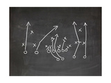 Football Play Strategy Drawn Out On A Chalk Board Kunst af  Phase4Photography