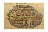Karte von Jerusalem In Mosaic, Cardo, Jerusalem, Israel Poster von paul prescott