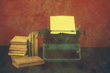 Old Typewriter With Books Retro Colors On The Desk Posters av  Artush