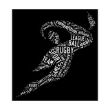 Rugby Football Pictogram With White Wordings Affiches par  seiksoon