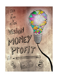 Picture Of Huge Mosaic Light Bulb On Brown Wall Next To Written Down Business Plan Posters by Wavebreak Media Ltd