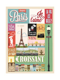 Typographical Retro Style Poster With Paris Symbols And Landmarks Poster von  Melindula