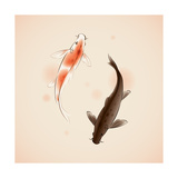Yin Yang Koi Fishes In Oriental Style Painting Plakater af  ori-artiste