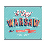 Vintage Greeting Card From Warsaw - Poland 高品質プリント :  MiloArt