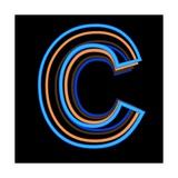Glowing Letter C Isolated On Black Background Julisteet tekijänä Andriy Zholudyev