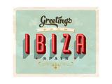 Vintage Touristic Greeting Card - Ibiza, Spain Kunstdrucke von Real Callahan