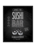 Vintage Sushi Bar Poster - Chalkboard Poster by  avean