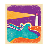 Seascape Horizon With Lighthouse On Grunge Paper Texture Poster by  GeraKTV