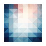 Abstract Blue Triangles Geometry Posters by  art_of_sun