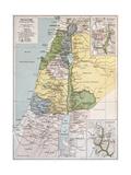 Palestine Tribes Old Map With Jerusalem Insert Maps