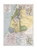 Palestine Tribes Old Map With Jerusalem Insert Maps Pôsters por  marzolino