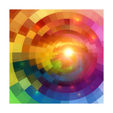 Abstract Colorful Shining Circle Tunnel Background Prints by  art_of_sun