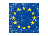 European Grunge Flag. A Square Flag Of European Union With A Texture Stampa di  TINTIN75