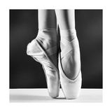A Photo Of Ballerina'S Pointes On Black Background Print by  PS84