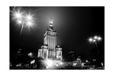 Warsaw, Poland Downtown Skyline At Night In Black And White Print by Michal Bednarek