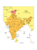 India With Administrative Districts And Surrounding Countries Arte por Bruce Jones