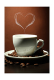 Cup Of Coffee With Smoke In Shape Of Heart On Brown Background Posters av  Yastremska