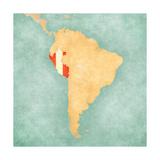 Karte von Südamerika - Peru (Retro Series) Kunstdrucke von  Tindo