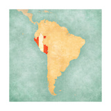 Map Of South America - Peru (Vintage Series) Prints by  Tindo