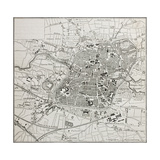 Old Map Of Nuremberg, Germany Prints by  marzolino