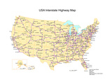 Usa With Interstate Highways, States And Names Kunstdrucke von Bruce Jones