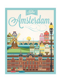 Retro Style Poster With Amsterdam Symbols And Landmarks Poster af  Melindula