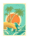 Vintage Nature Sea With Waves And Sun Posters by  GeraKTV