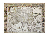 Asia Old Map. Created By Willem Bleau, Published In Amsterdam, Ca. 1650 Print by  marzolino