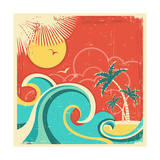 Vintage Tropical Poster With Island And Palms Posters by  GeraKTV