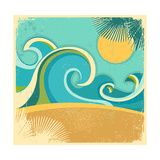 Vintage Nature Sea With Waves And Sun Art by  GeraKTV