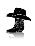 Cowboy Boot And Western Hat.Black Graphic Image On White Prints by  GeraKTV