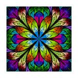 Multicolor Beautiful Fractal Flower. Computer Generated Graphics Pôsters por  velirina