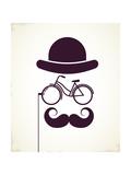 Gentlemen With Bicycle Eyeglass - Vintage Style Poster Plakater af  Marish