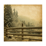 Retro Image Of Winter Landscape In The Carpathians Mountains. Vintage Paper Art by  A_nella
