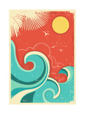 Vintage Tropical Background With Sea Waves And Sun Print by  GeraKTV