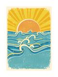 Sea Waves And Yellow Sun On Old Paper Texture.Vintage Illustration Plakater av  GeraKTV