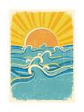 Sea Waves And Yellow Sun On Old Paper Texture.Vintage Illustration Art by  GeraKTV