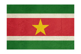 Grunge Sovereign State Flag Of Country Of Suriname In Official Colors Prints by  Speedfighter