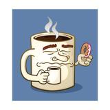 Grumpy Coffee Cartoon Character Eating A Donut Taide tekijänä Tony Oshlick