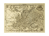 Old Map Europe With Parallels And Meridians. May Be Dated To The End Of Xvii Sec Kunstdrucke von  marzolino