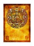 Maya Calendar On Ancient Wall Kunstdrucke von  frenta