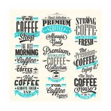 Set Of Vintage Retro Coffee Labels Kunstdrucke von  Melindula
