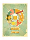 Retro Cover Menu For Beer Kunstdrucke von  elfivetrov