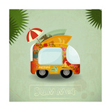 Summer Travel Bus In Retro Style 高画質プリント :  elfivetrov