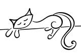 Silhouette Of A Lying Black Cat Láminas por  Stellis