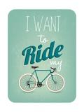 Retro Illustration Bicycle Kunstdruck von  Melindula