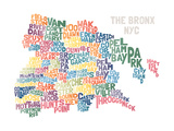 Typograhical Bronx Abstract Print by  jorgenmac