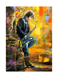 The Young Guy Playing A Saxophone Prints by  balaikin2009