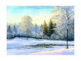 Not Frozen Lake In Winter Wood Affiche par  balaikin2009
