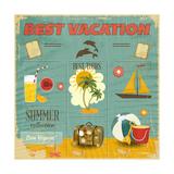 Summer Card In Retro Style アート :  elfivetrov